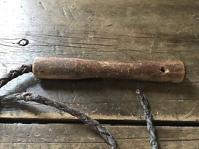 Early Antique Brown Leather Bull Whip Patina Frontier Equestrian AAFA