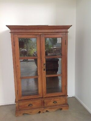 Antique Teak Glass Fronted Cabinet