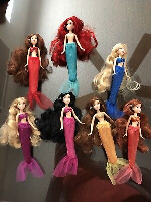 Disney Store The Little Mermaid Ariel Sisters Mini Doll Set 7 Dolls Figures RARE