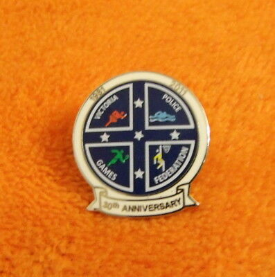 VICTORIA POLICE GAMES FEDERATION 30th ANNIVERSARY LAPEL PIN BADGE - 2011