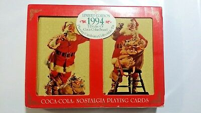 Coca-cola Coke 1994 Christmas Santa Decks Playing Cards Tin NEW Vintage Swap