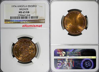 Angola Bronze 1974 1 Escudo NGC MS65 RB 26 mm Last Year Type TOP GRADED ! KM# 76