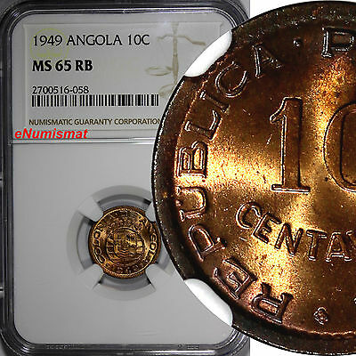 Angola Portuguese Bronze 1949 10 Centavos NGC MS65 RB Revolution of 1648 KM# 70