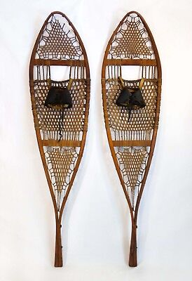 Antique Early 20Th C Long Bentwood Snowshoes (Usa) Gut Webbing, Leather Bindings