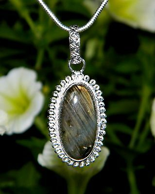 "Labradorite 2"" Crystal Healing Pendant ~ 22"" Non-Tarnish Sterling Silver Chain"