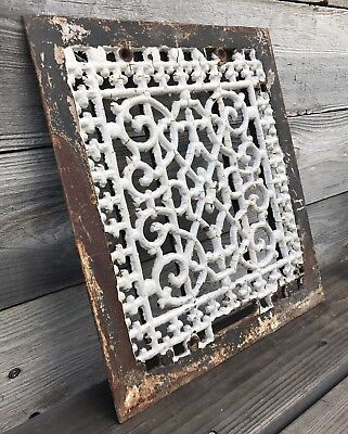 Large Antique Ornate Cast Iron Heat Grate ~ Vintage Ornate Heat Vent