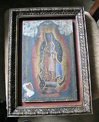Original Antique Retablo On Canvas Over Wood Our Lady Of Guadalupe Framed