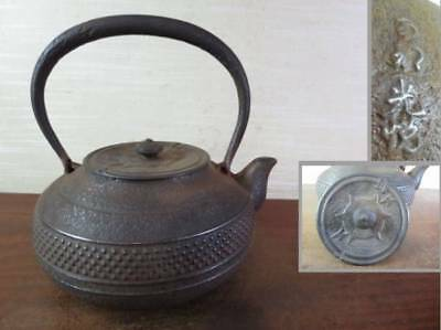 Japanese Antique KANJI old Iron Tea Kettle Tetsubin teapot Chagama 2370