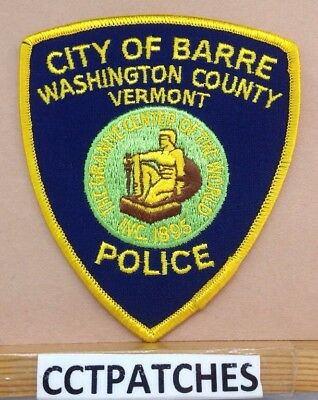 City Of Barre, Vermont Police Shoulder Patch Vt