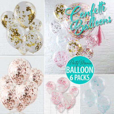 6 x CONFETTI FILLED CLEAR PARTY BALLOONS WEDDING BIRTHDAY DECORATION 30CM HELIUM