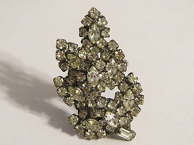Glamorous Glitzy Retro Rhinestone Cluster Leaf Ring Size 5 Adjustable