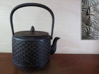 Japanese Antique KANJI old Iron Tea Kettle Tetsubin teapot Chagama 2372