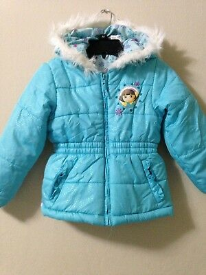NICKELODEON Blue DORA THE EXPLORER girls jacket coat Sz S 4/5