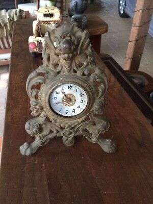 Vintage Foreign Mechanical Clock In Cast Iron Frame. Estate Item. Not Working.