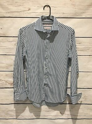 Men Rhodes and Beckett Button Down Shirt Size 38 / 15  Striped French Cuff
