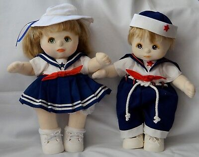 Two Ash blond boy girl Mattel My Child dolls sailors outfits & shoes