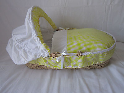 Baby Or Reborn Replacement  Moses Basket 3 Piece Bedding Set Cover Hood & Quilt