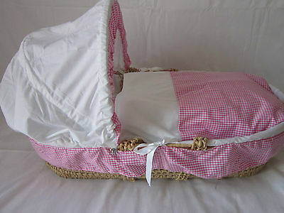 Baby/ Reborn Replacement  Moses Basket 3 Piece Bedding Set Cover Hood And Quilt