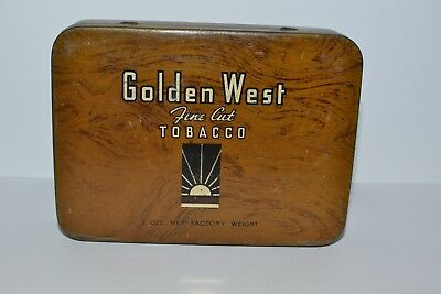 Golden West Fine Cut Tobacco Tin c1940s - Michelides Ltd Perth Aust 2 OZ Scarce