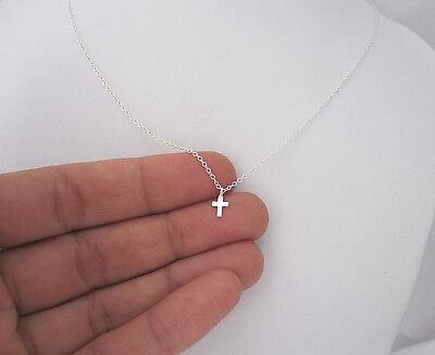 925 sterling silver teeny tiny cross pendant with chain necklace