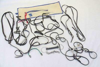 Bulk lot of leather horse bridles, straps etc for riding #14151