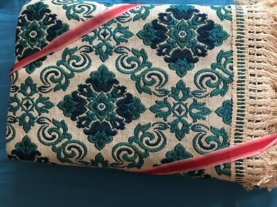 Retro Italian Teal/Navy Jacquard Bedspread with Fringe, Double / Queen size