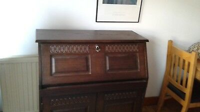 Walnut Writing Desk/Bureau with leather flap - good condition