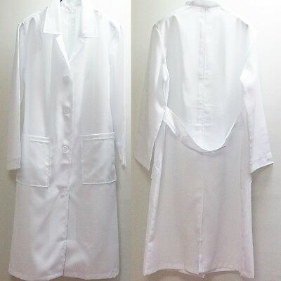 Women Hospital Clinic Labcoat White 100% Polyester Uniform Coat Jacket Beauty