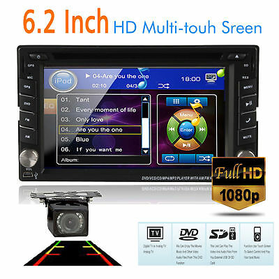 "2DIN 6.2"" HD Car CD DVD Player GPS Stereo FM AM Radio MP3 Touch Screen BT+CAMERA"