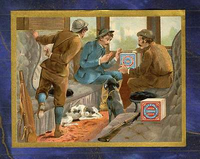 chromo Huntley & Palmers Chasseurs Train Wagon Chien Chasse Hunters Trade card