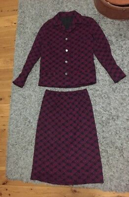 Amazing Original Peter Saunders Tweed Vintage Skirt And Jacket Suit