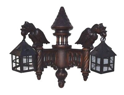 French Gothic Large Antique Hand Carved Wood Girffin Chimera Wall Sconce Lamp