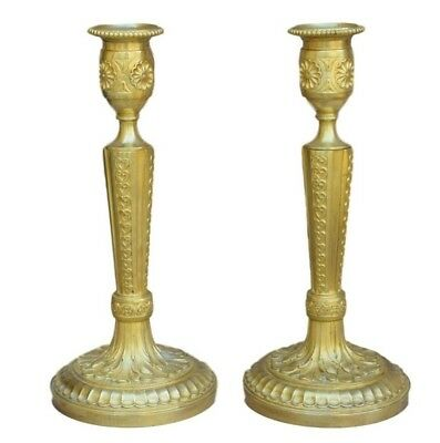 French Antique Ormolu Bronze Pair of Candlesticks Candle Holders 19th.C