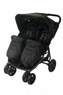 Red Kite Twin Stroller Double Pushchair Push Me Twini Carbon Black with Footmuff