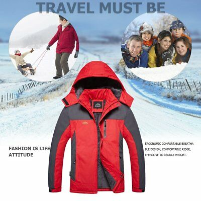 Unisex Inner Fleece Waterproof Hooded Jacket Outdoor Hiking Skiing Jackets OK