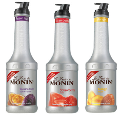 3 x MONIN Puree 1L Smoothie & Cocktail mix - Choose from 12 Flavours