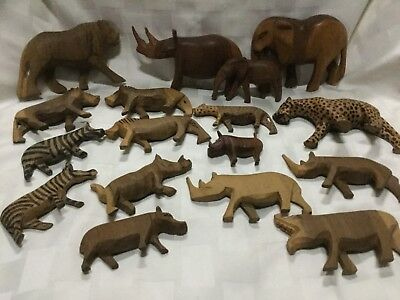 Lot of 17 African Safari Carved Wooden Animals, Elephants, Lions and more, C3