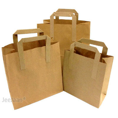 Brown Paper SOS carrier bags take away handles *ALL 3 SIZES- Small,Medium,Large*
