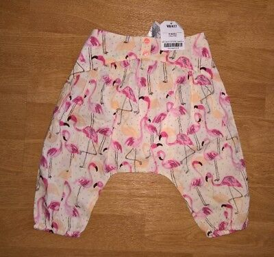 Next Baby Girls Pink Cream Flamingo Trousers (size 6-9 months)