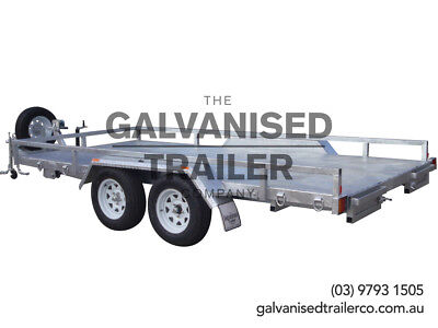 14x 6.6 Car Carrier Trailer 2T H/Duty Galvanised With Tilt Drawbar & Winch Mount