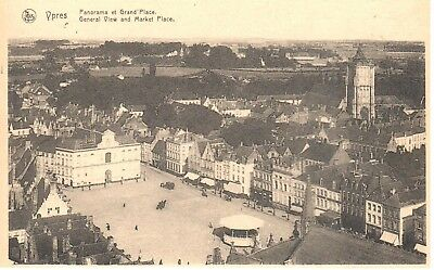 carte postale - Ypres - leper - CPA - Panorama et Grand'Place