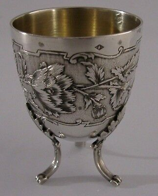 BEAUTIFUL FRENCH ART NOUVEAU SOLID STERLING SILVER EGG CUP c1900 ANTIQUE