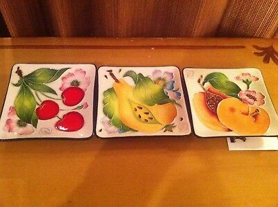 J. McCall BLUE SKY - Lot of 3 Square Trays Plates PEAR CHERRIES PEACH