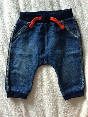 Next Baby Boys Trousers Size 3-6 Months Denim Look 100% Cotton Vgc