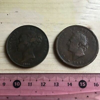 Copper lot - George IV penny 1826 - Victoria penny 1854
