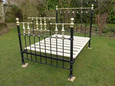 "Victorian Cast Iron + Brass Bed. Beautifully Restored 4ft 6"" Double Size"