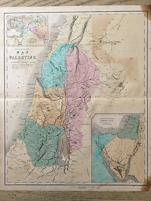 1852 Palestine Large Hand Coloured Map By Gall & Inglis