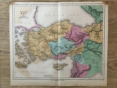 1852 Asia Minor Anatolia Turkey Large Hand Coloured Map By Gall & Inglis