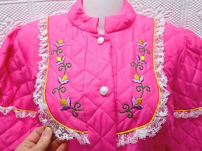 Nwt-Vintage Sears Hot Pink Quilted Long Cozy Robe-Pretty Flower Embroidery, Lace