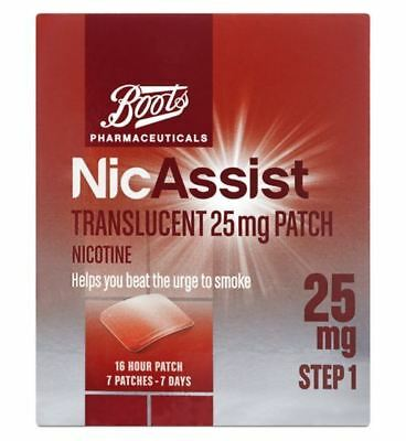 Boots Pharmaceuticals NicAssist Translucent 25mg Patch Step 1 (7 Patches)